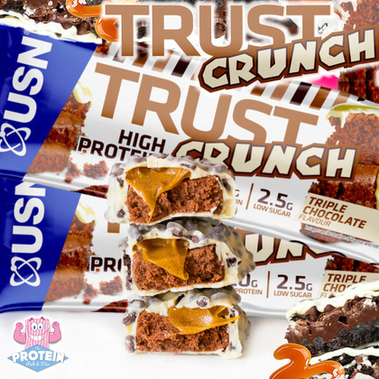 USN turn up the indulgence in their TRUST Crunch bar range with the choctastic, white chocolate coated 'Triple Choc'!