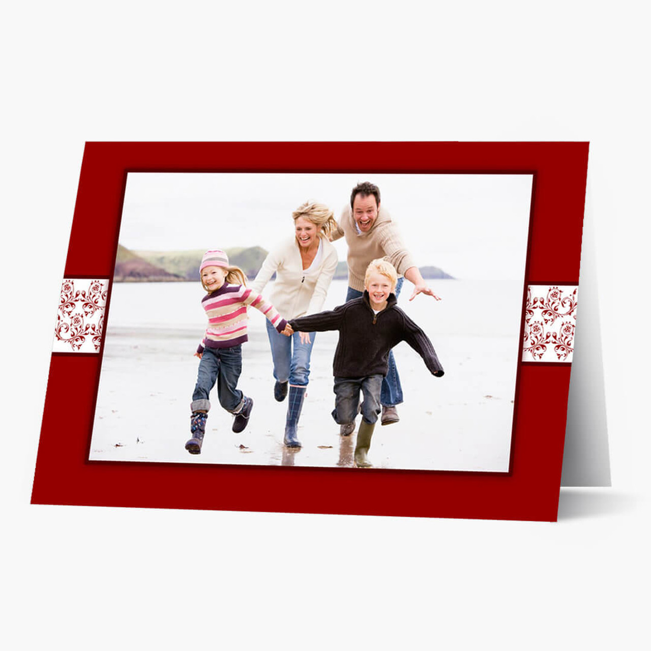 Red Flourish Accent - Matte Finish Christmas Card
