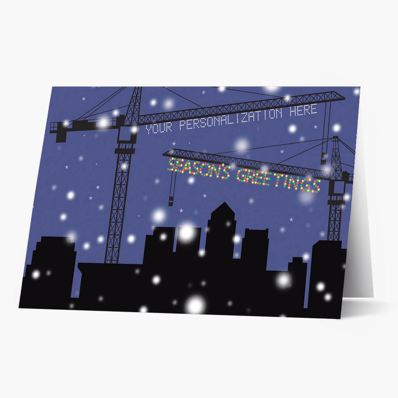 Crane Lights Christmas Card