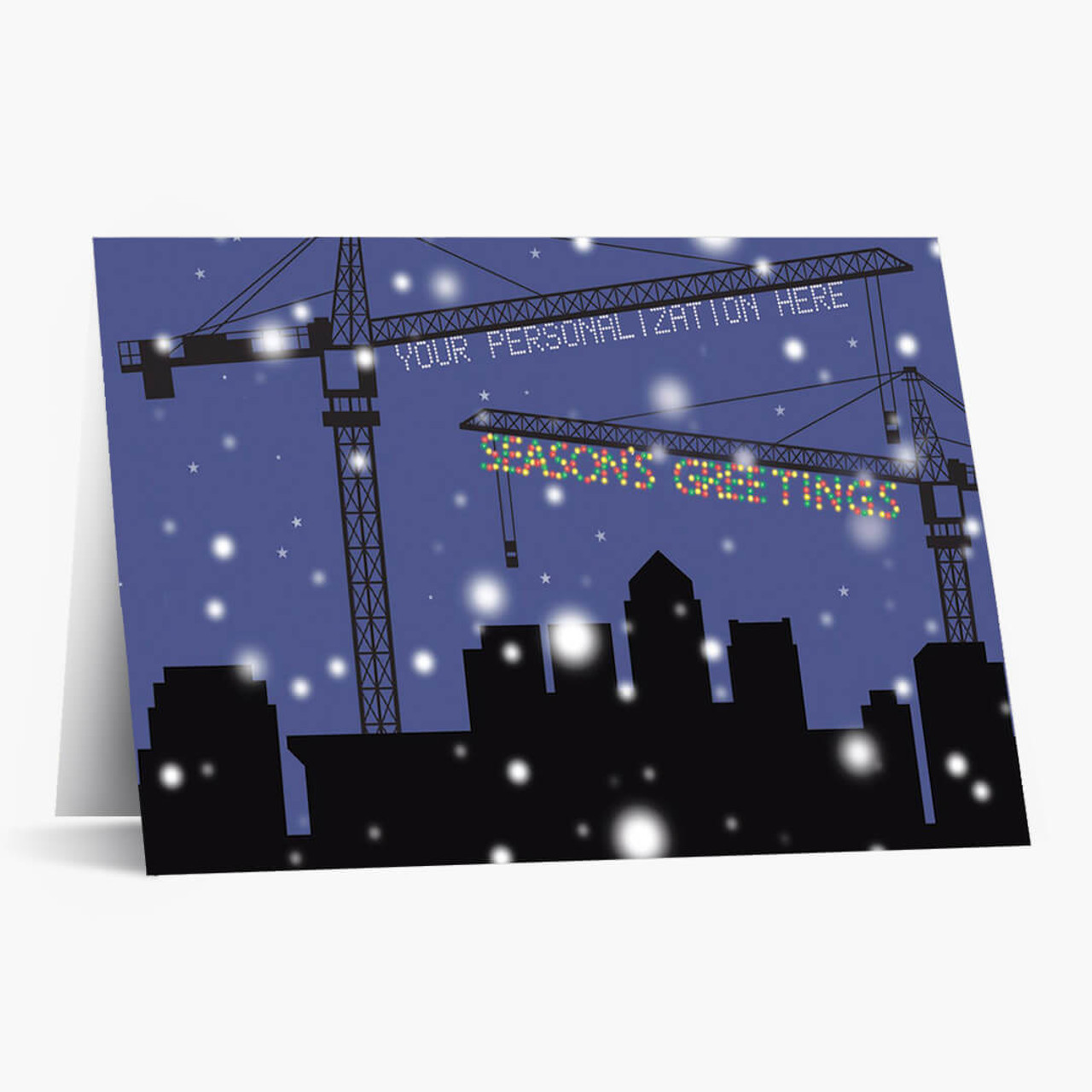 Crane Lights Christmas Card