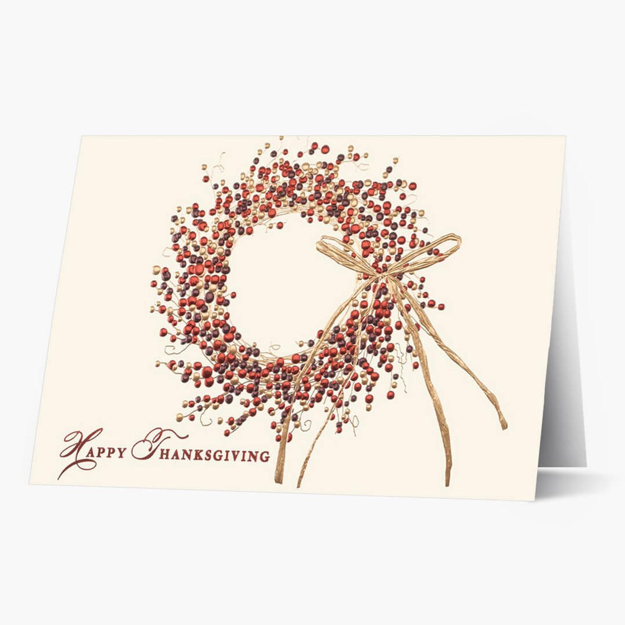 Tri Colored Wreath Thanksgiving Card
