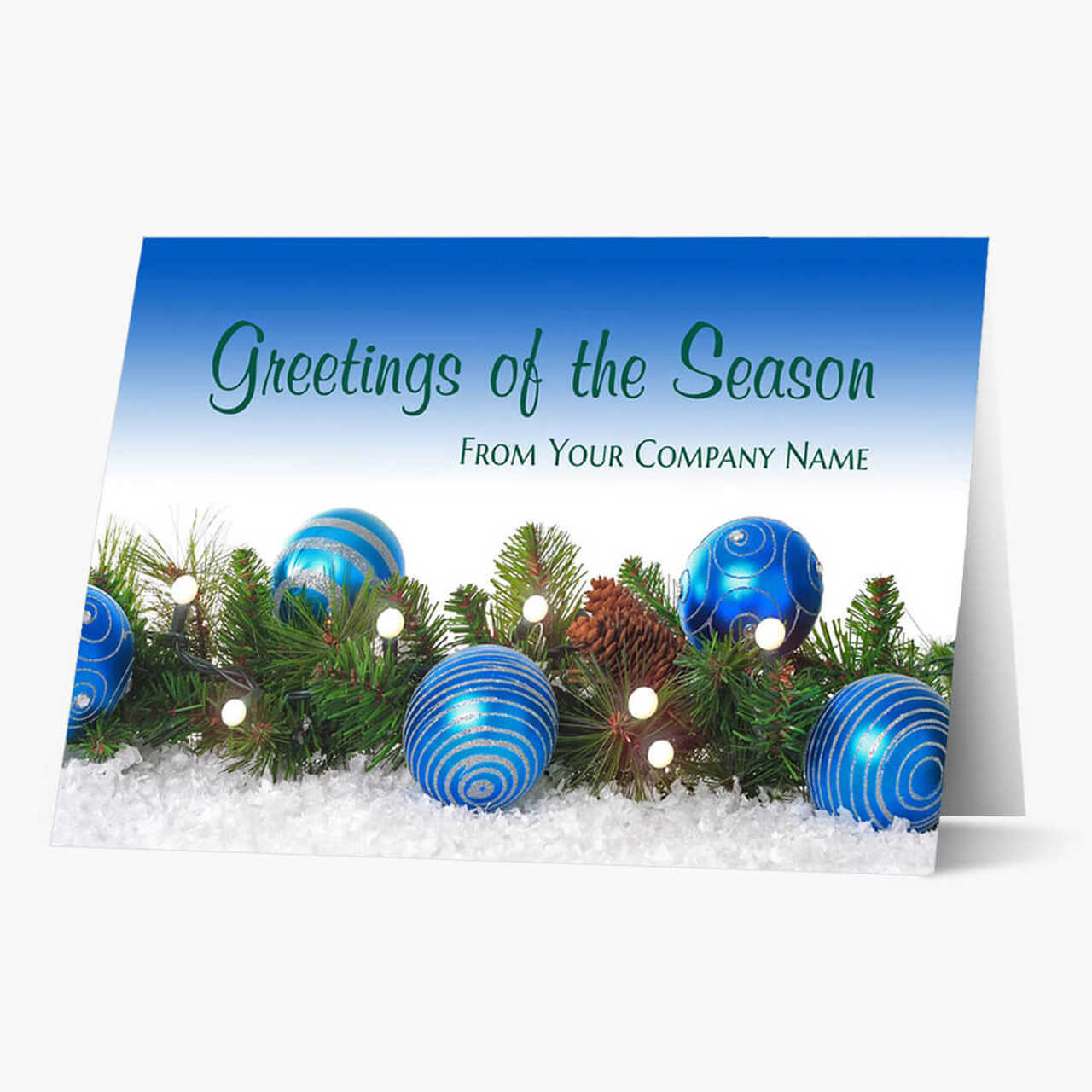 Blue Bauble Greetings Christmas Card