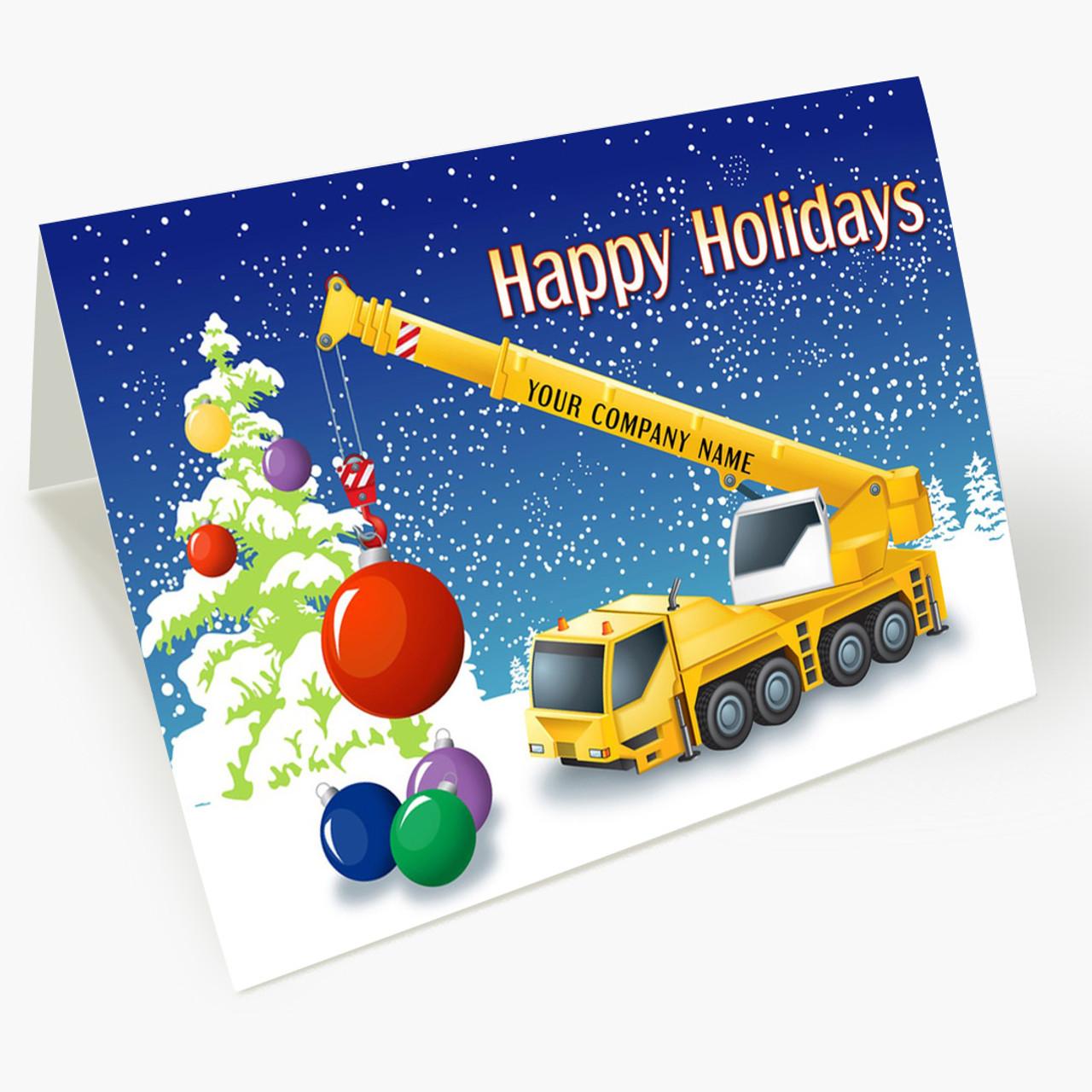 Colorful Crane Christmas Card