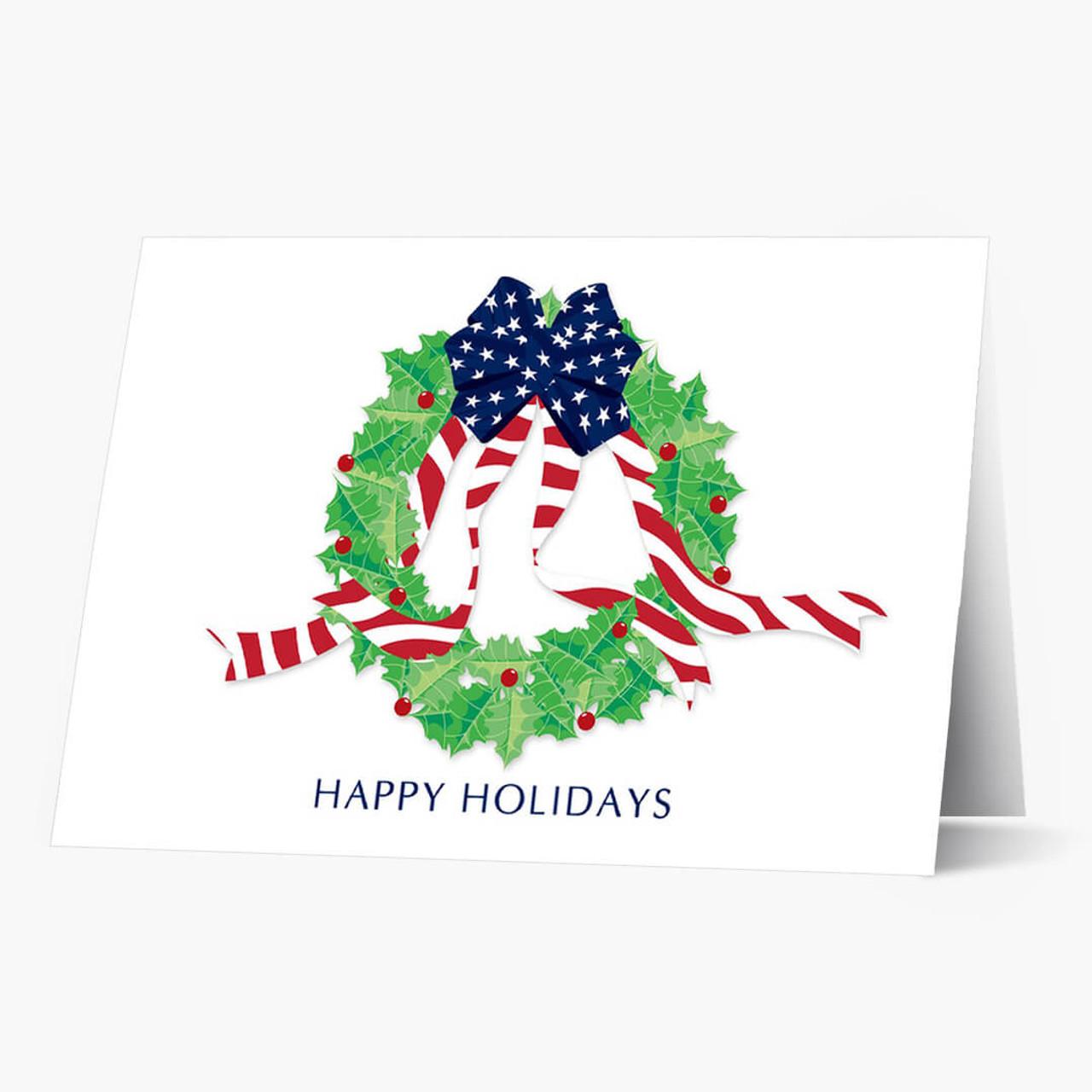 Stars and Stripes Wreath Christmas Card