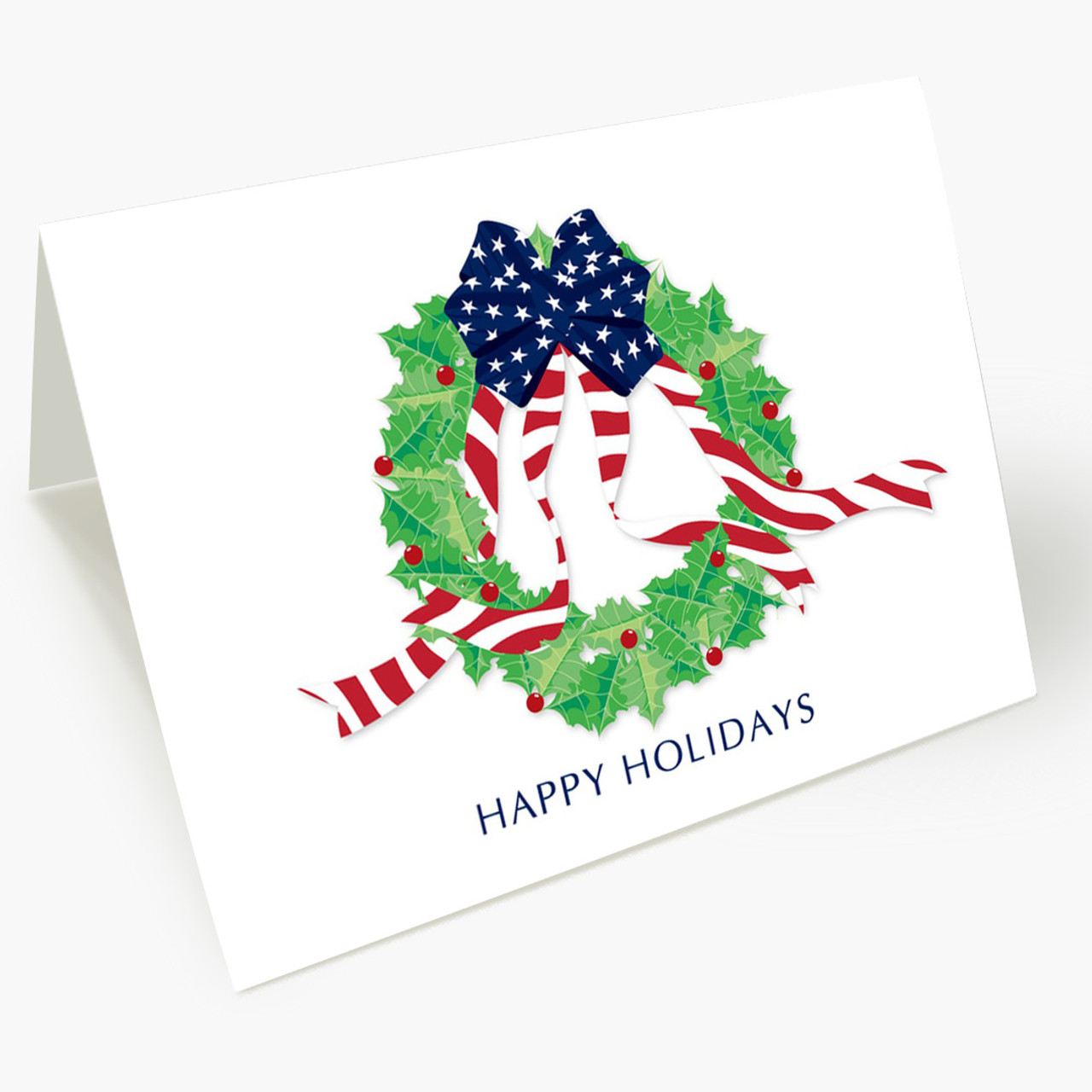 Stars and Stripes Wreath Christmas Card