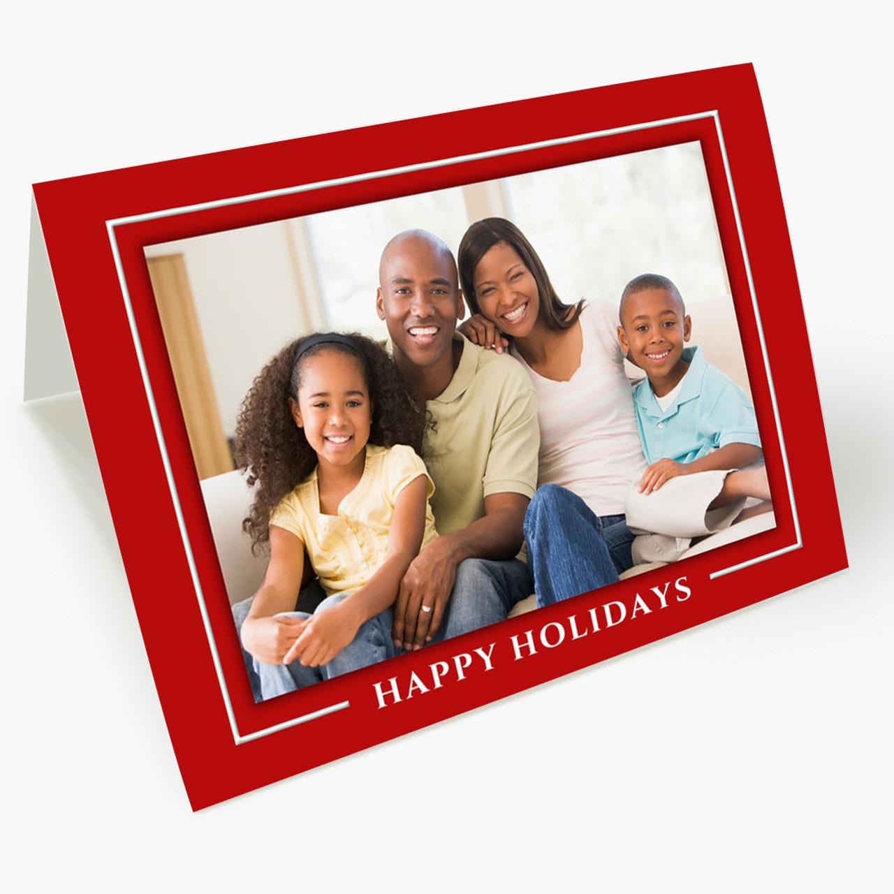 Red Border Horizontal - Matte Finish Christmas Card