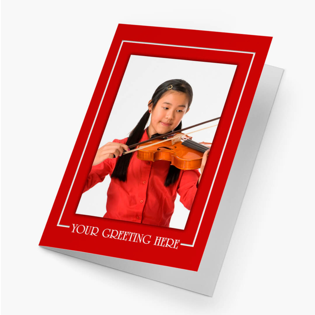 Red Border Vertical - Matte Finish Christmas Card