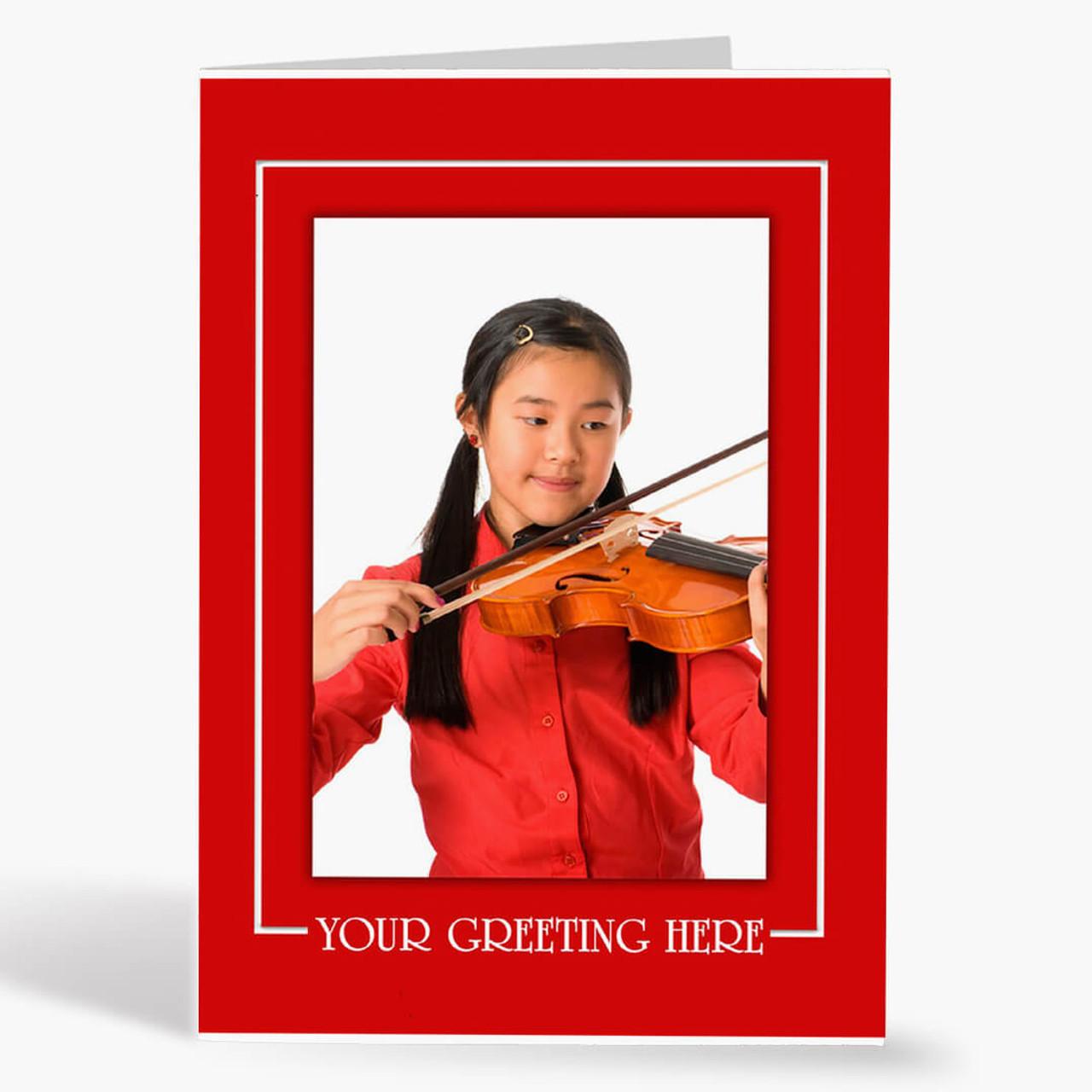 Red Border Vertical - Matte Finish Christmas Card