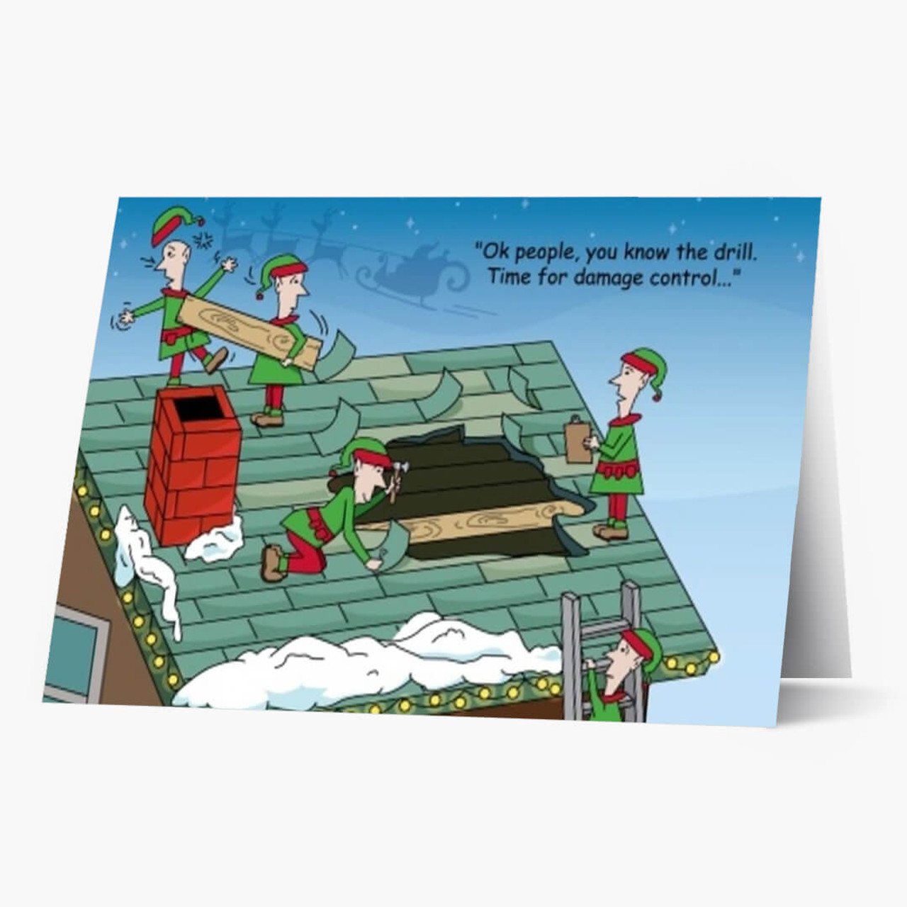 Santa's Roof Repair Christmas Card