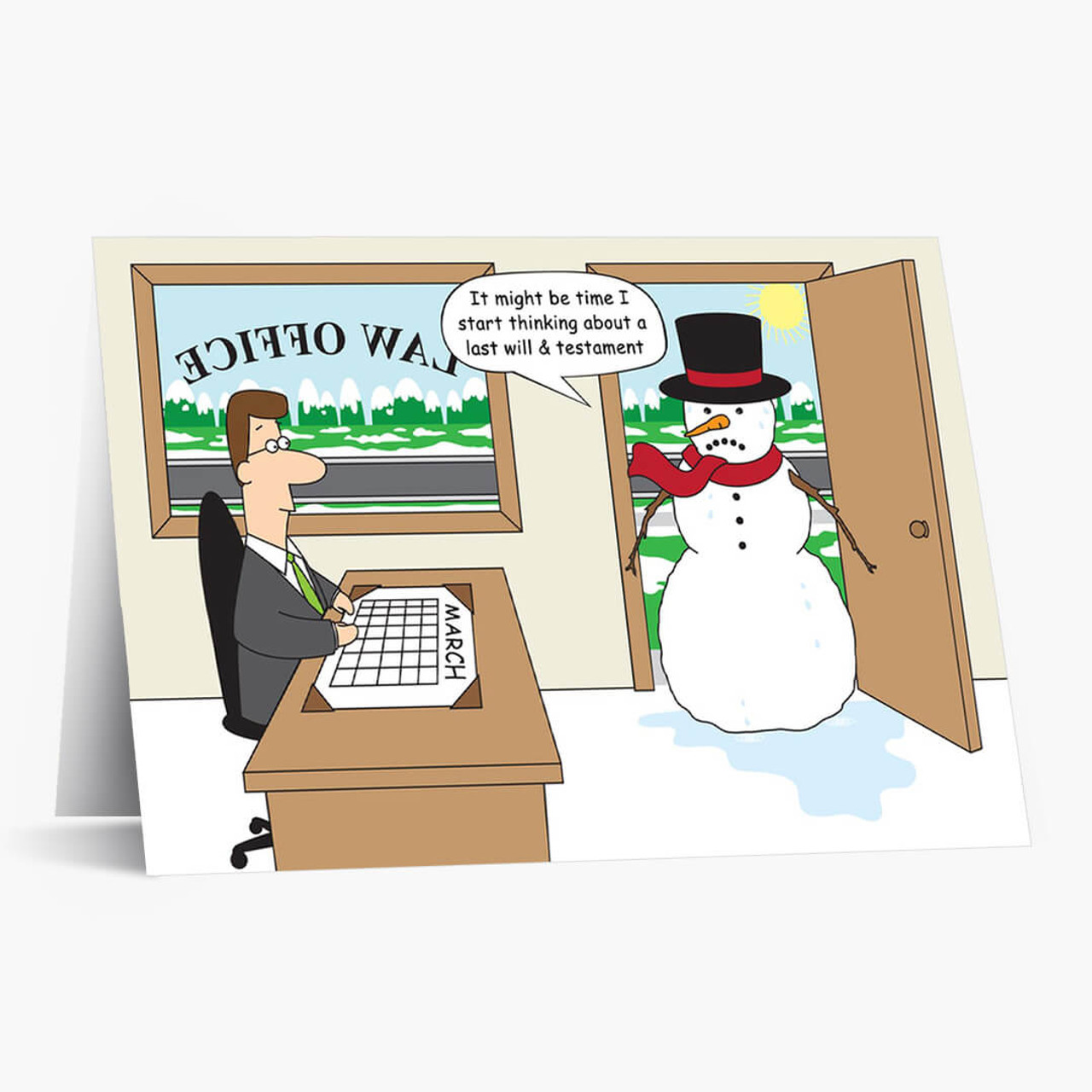 Law Office Snowman Christmas Card