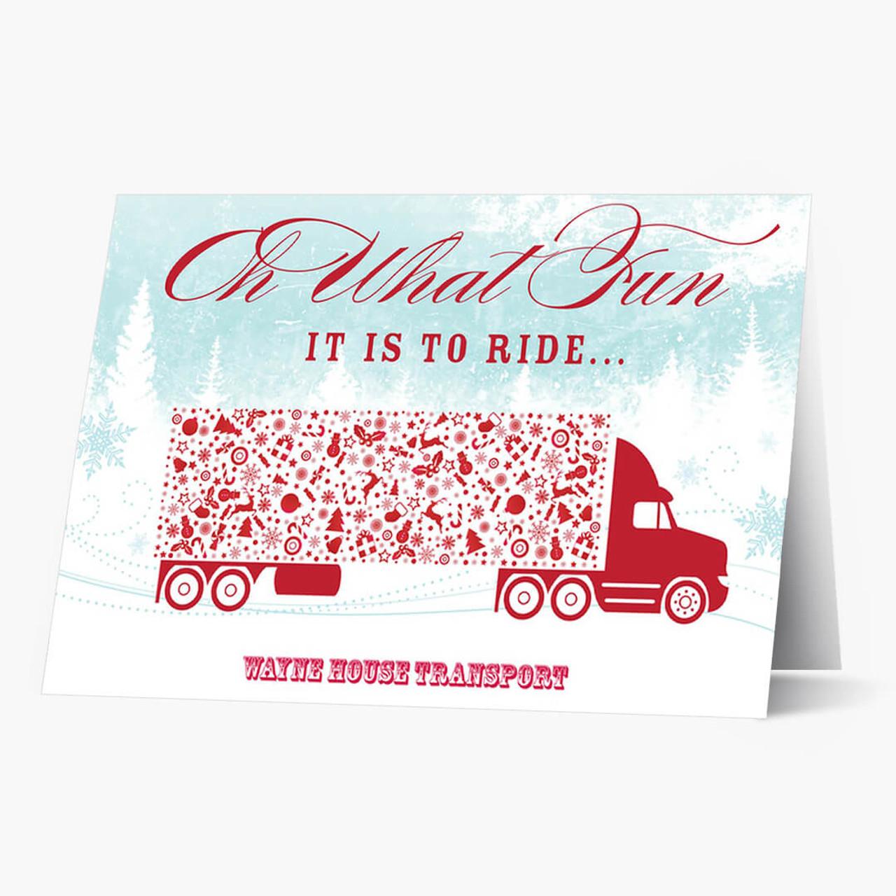 Oh What Fun Semi Truck Christmas Card