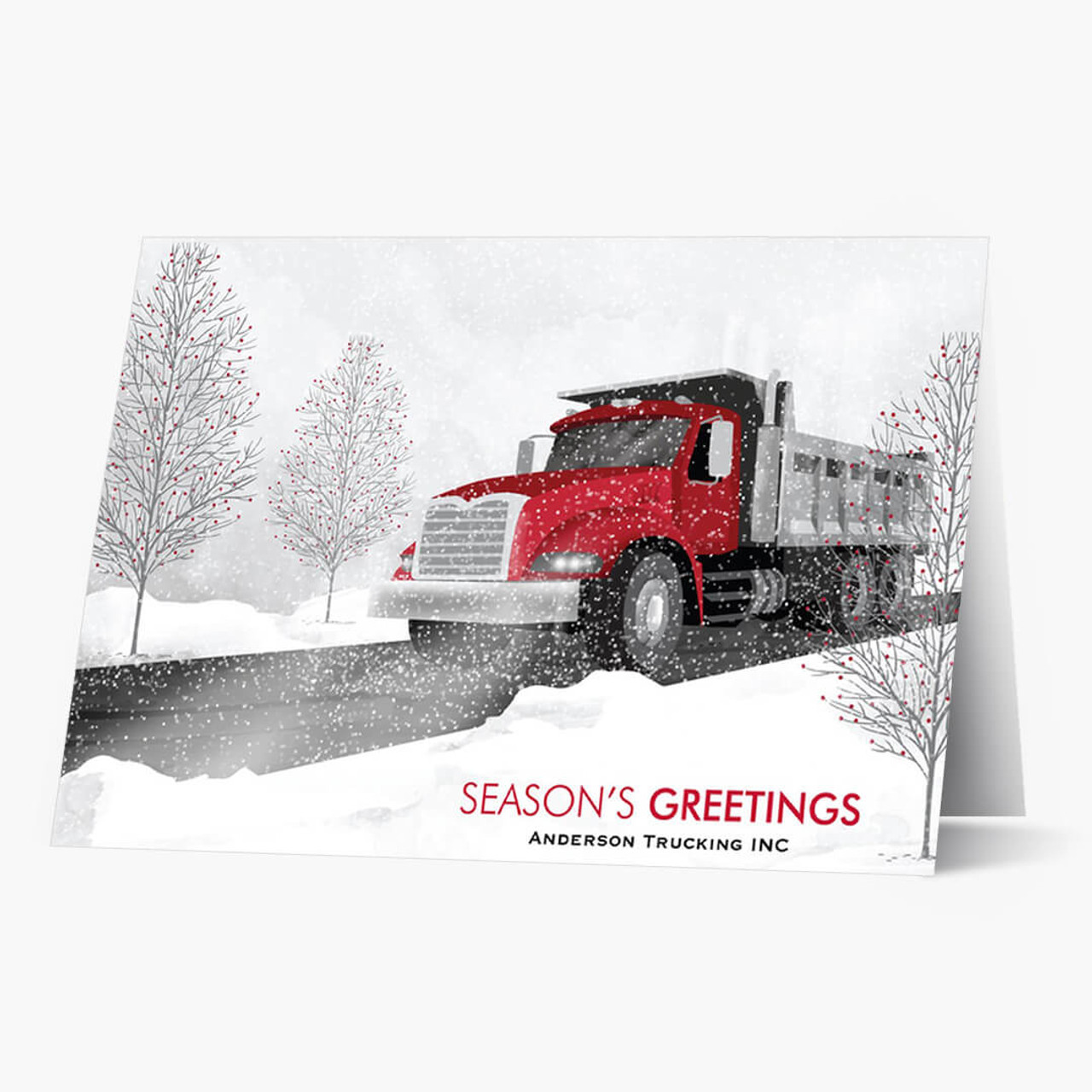 Red Cab Dump Truck Christmas Card