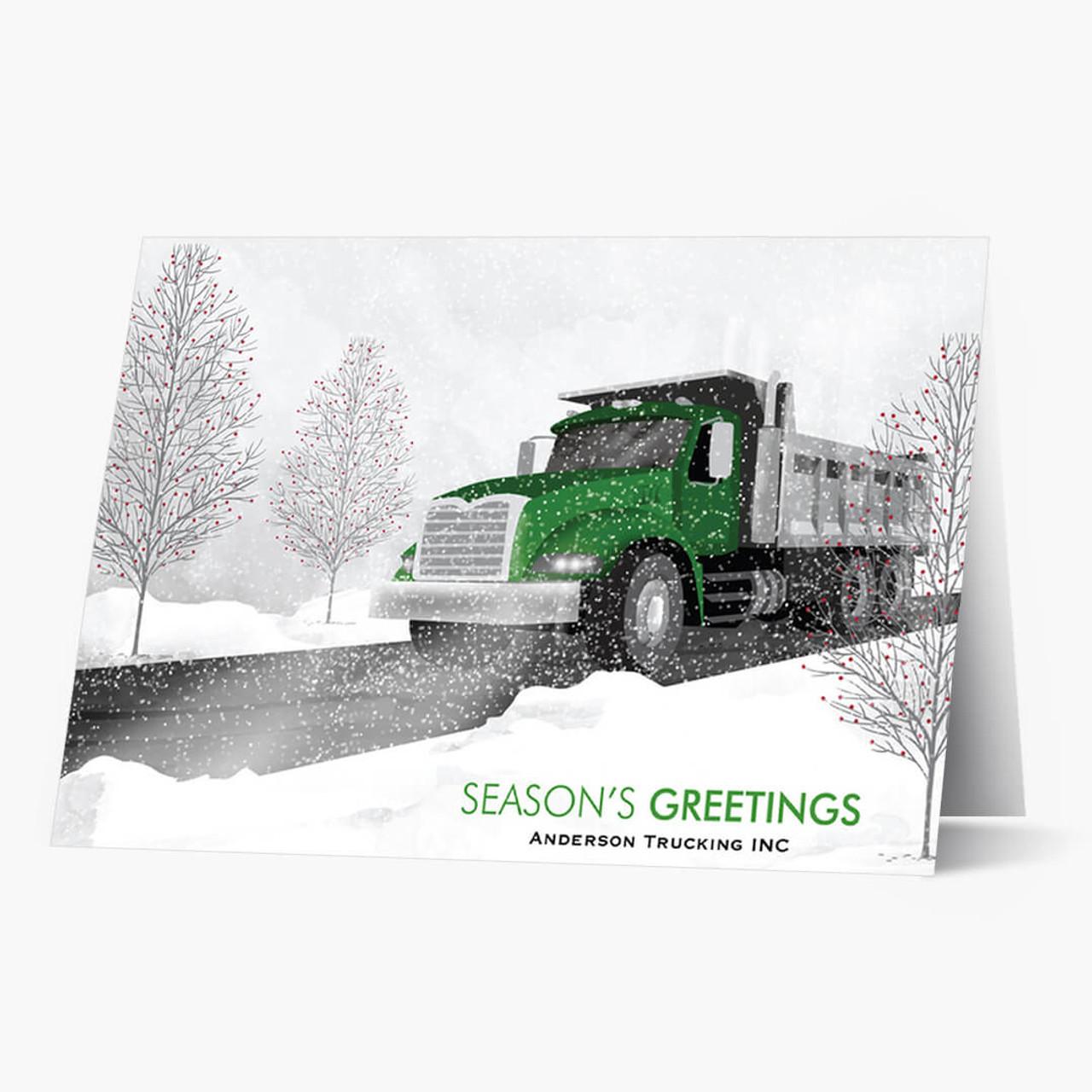 Green Cab Dump Truck Christmas Card