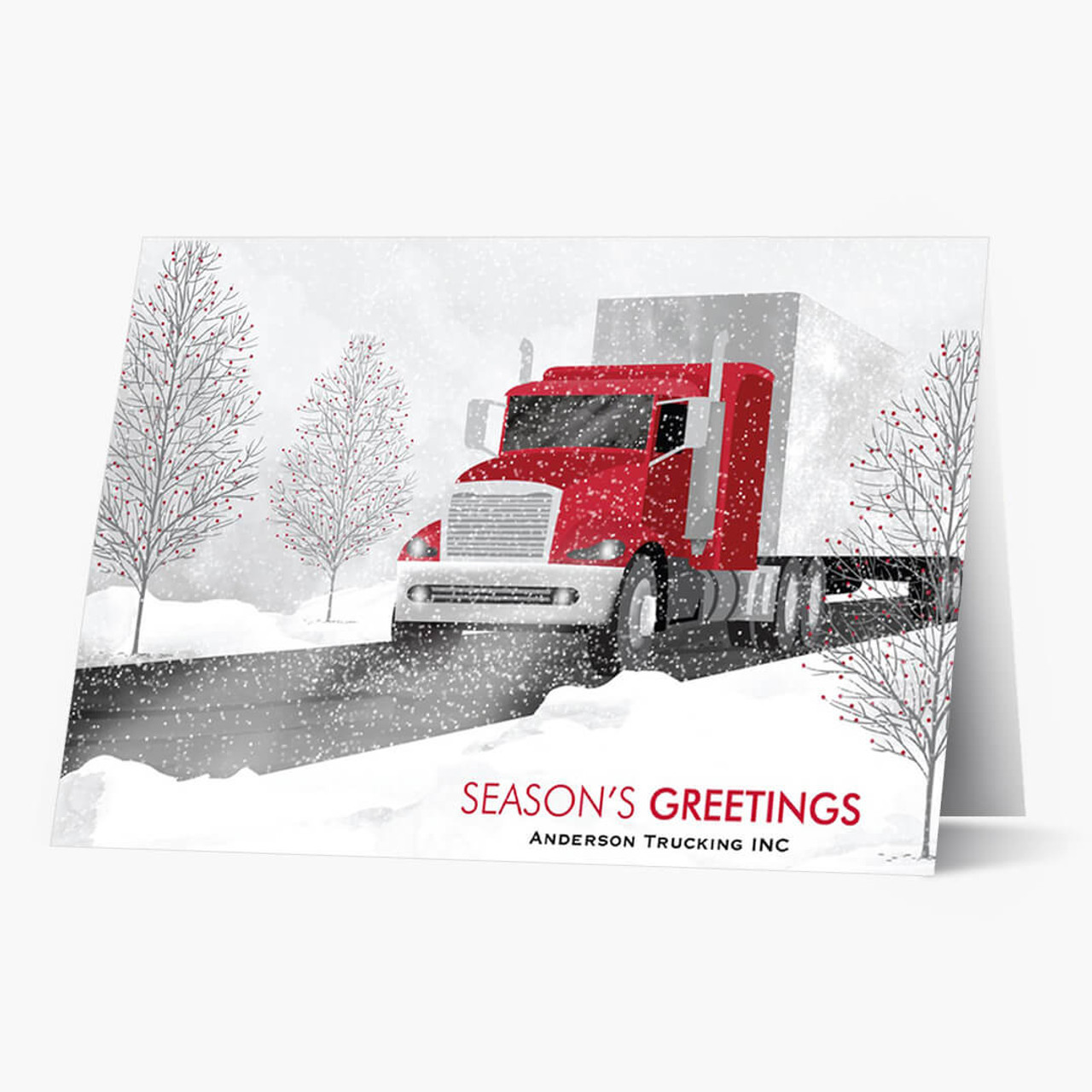 Red Cab Semi Truck Christmas Card