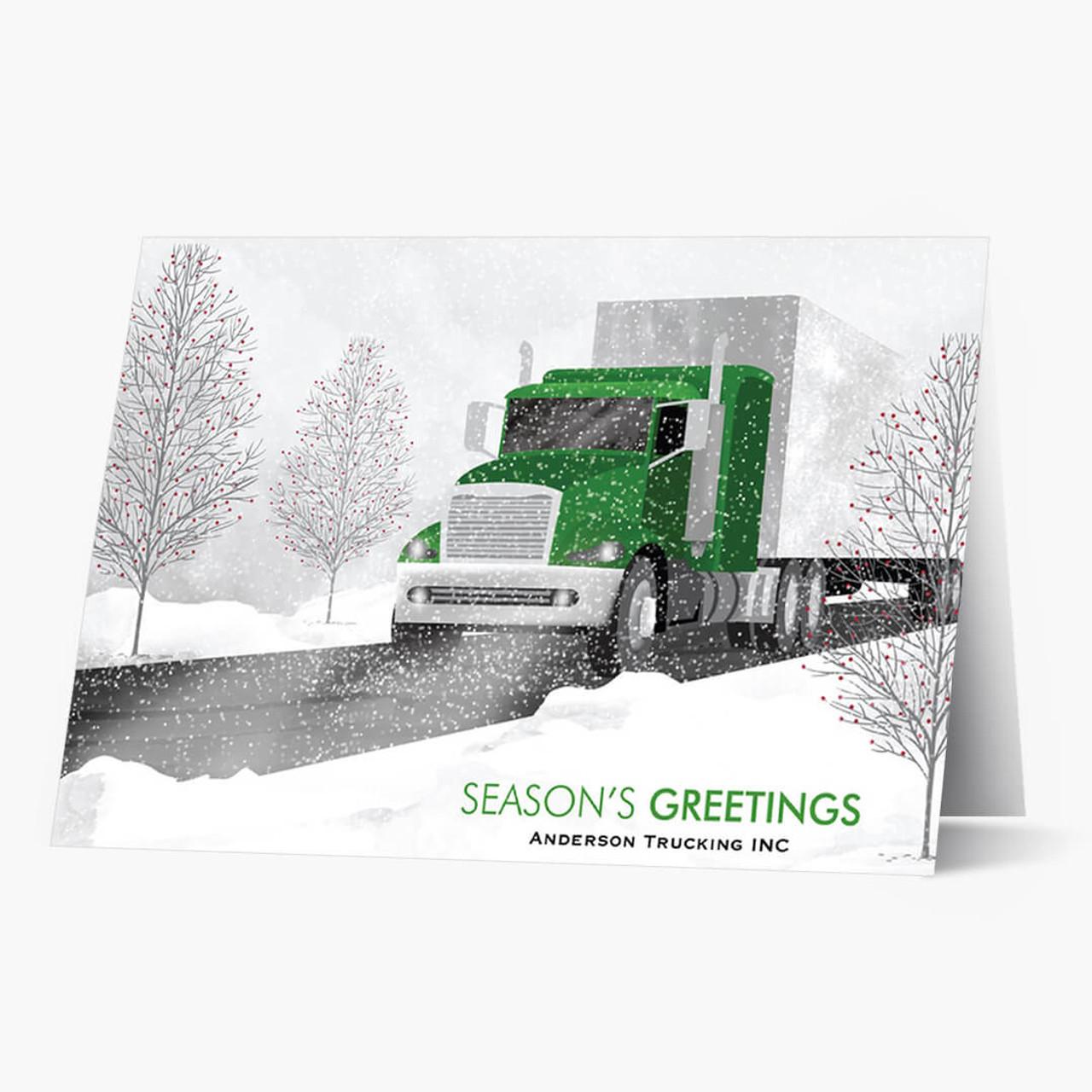 Green Cab Semi Truck Christmas Card