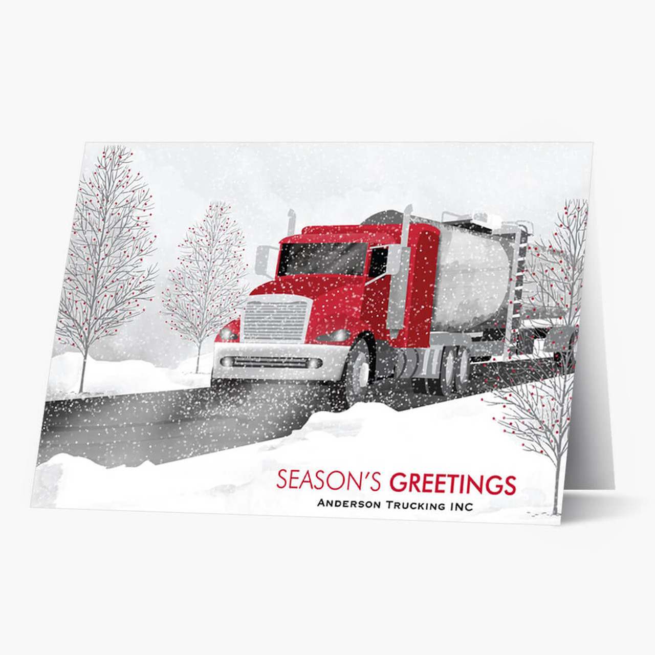 Red Cab Tanker Truck Christmas Card
