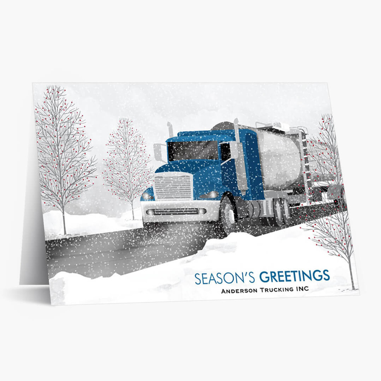 Blue Cab Tanker Truck Christmas Card