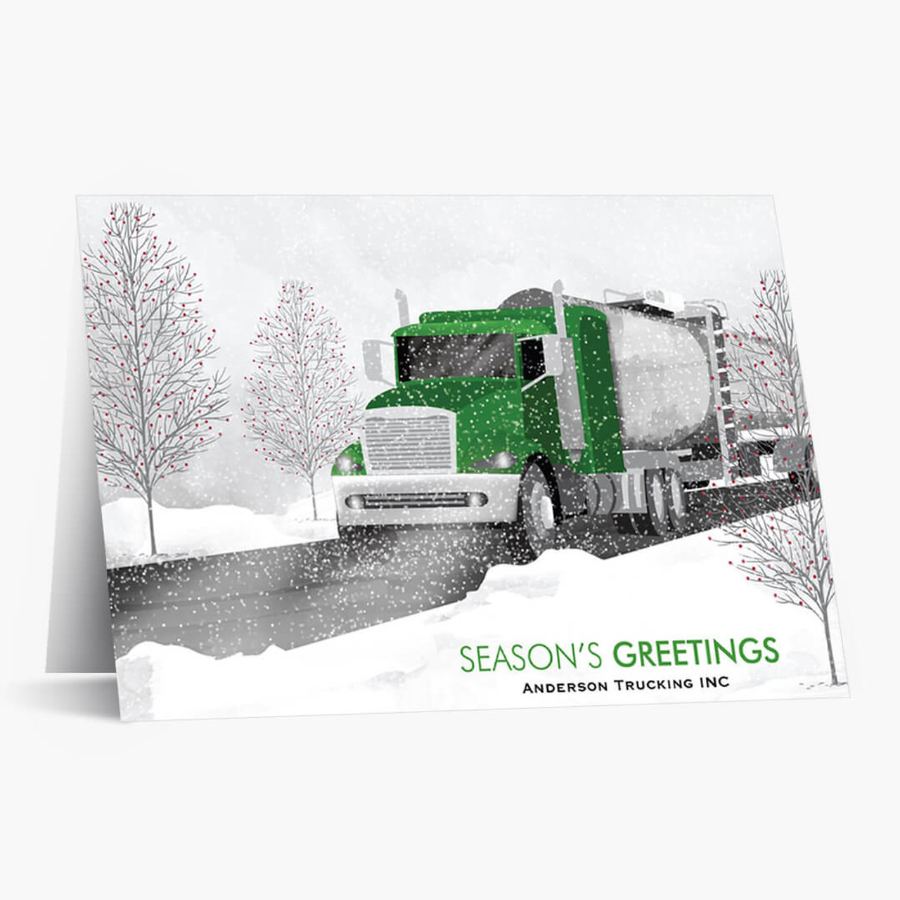 Green Cab Tanker Truck Christmas Card