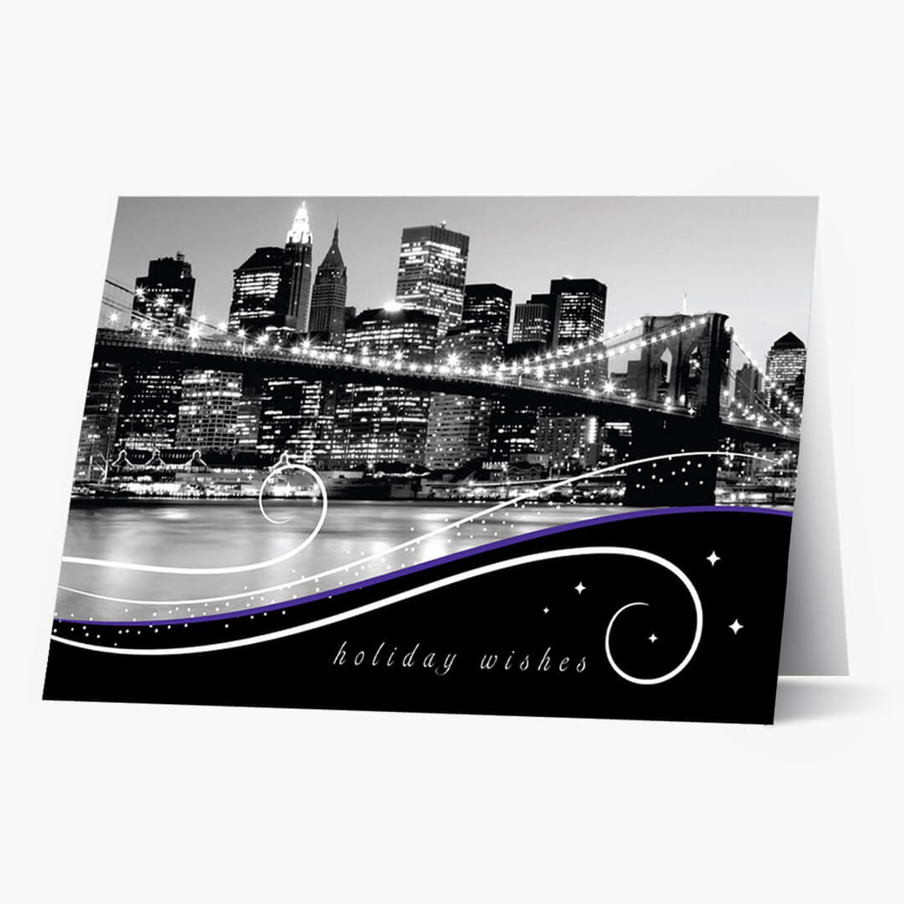 New York Skyline At Night Christmas Card