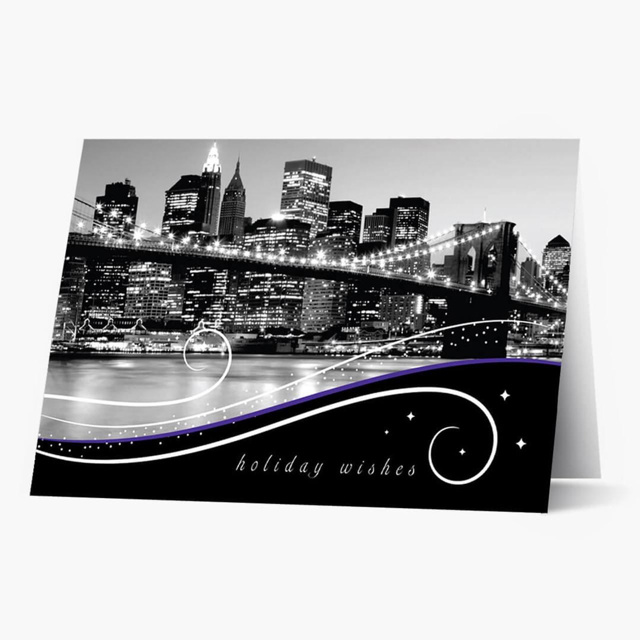 New York Skyline At Night Christmas Card