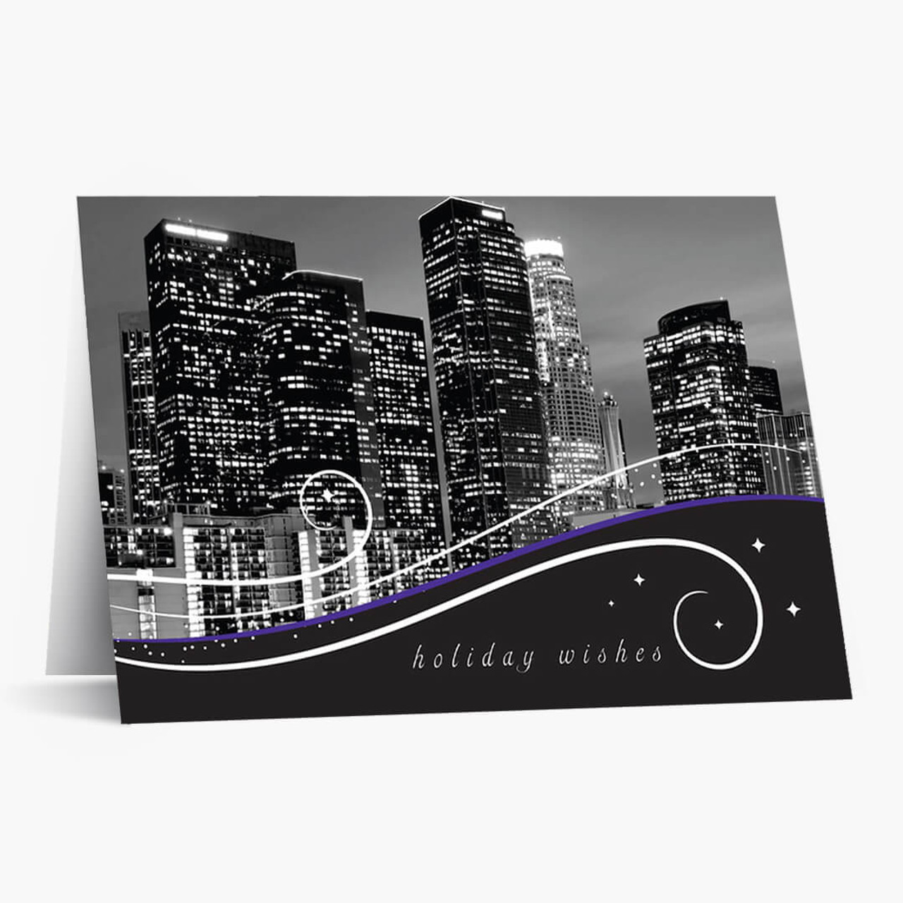 Los Angeles Skyline At Night Christmas Card