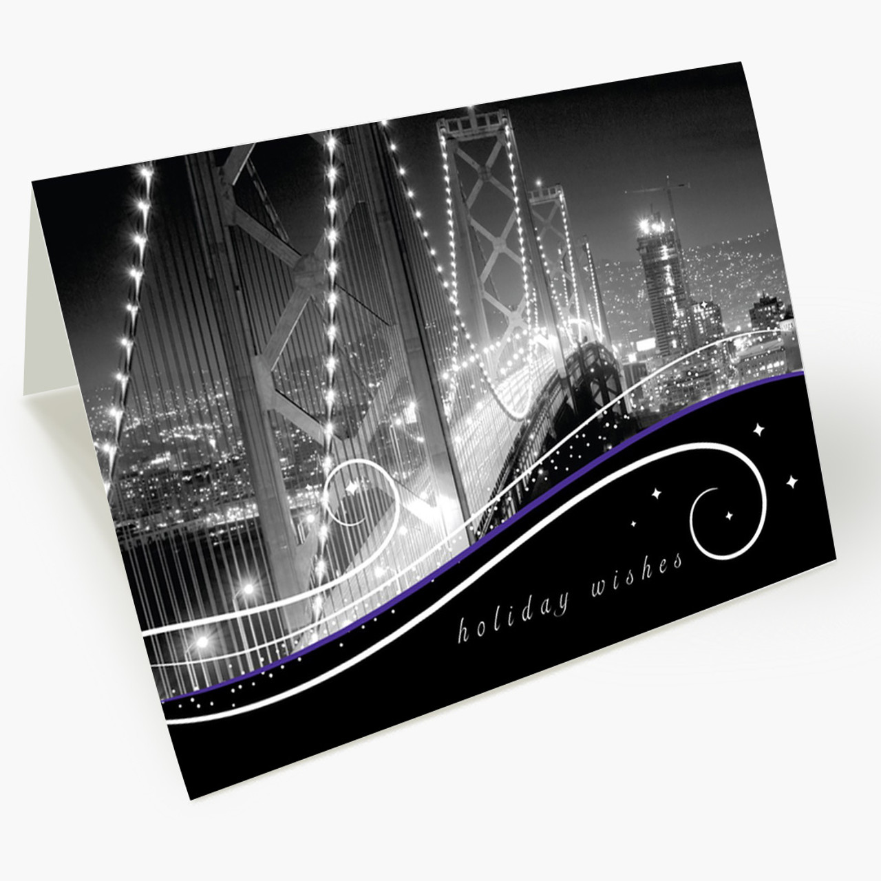 San Francisco Skyline At Night Christmas Card