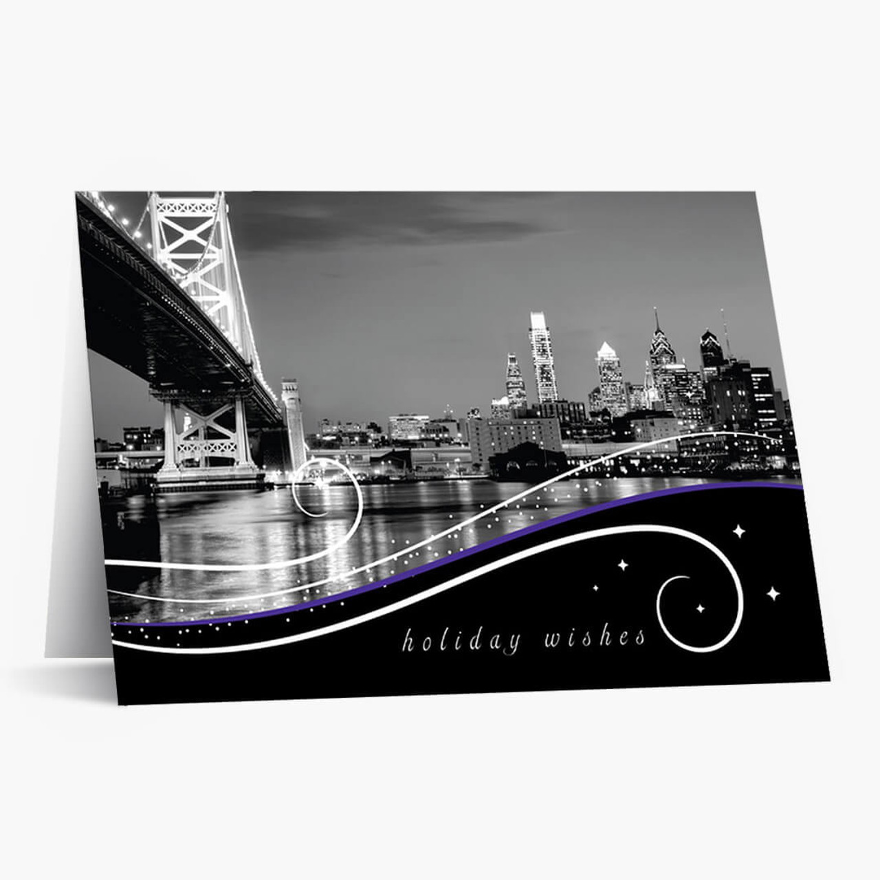 Philadelphia Skyline At Night Christmas Card