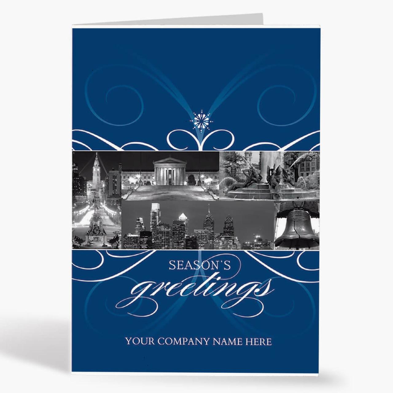 City Of Philadelphia Florish Christmas Card