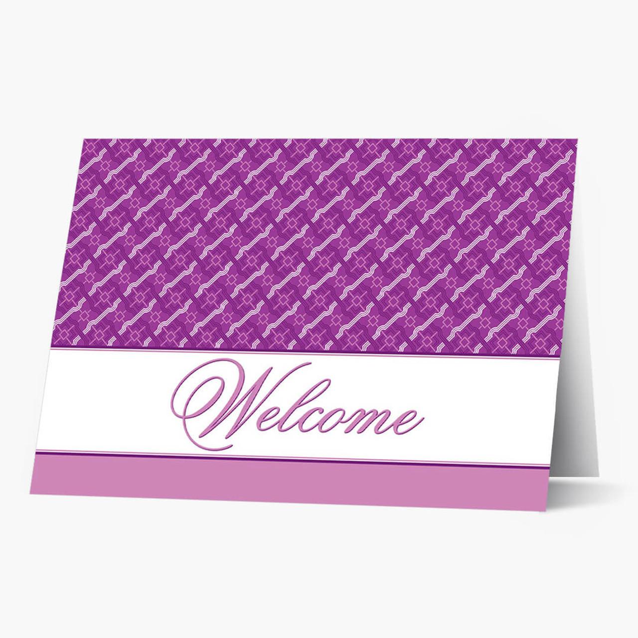 Purple Pattern Welcome Card