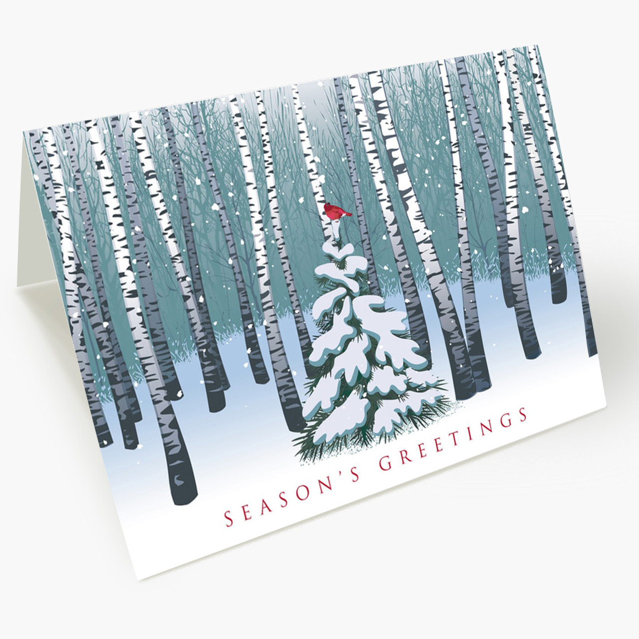 Bird Among Birches Christmas Card