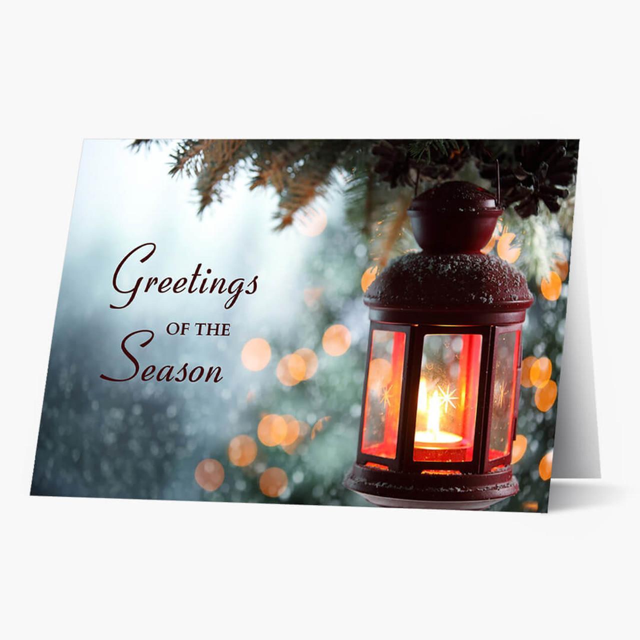 Soft Lantern Greetings Christmas Card