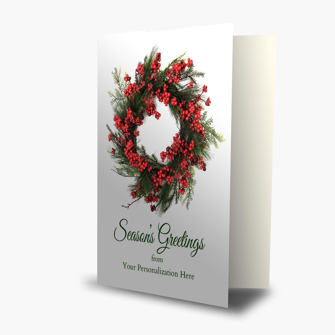 Beautiful Berry Wreath Christmas Card