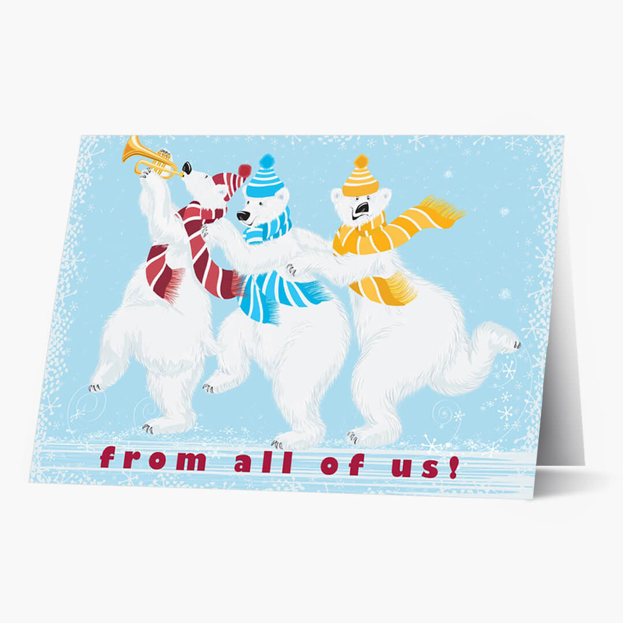 Whimsical Polar Bears Christmas Card