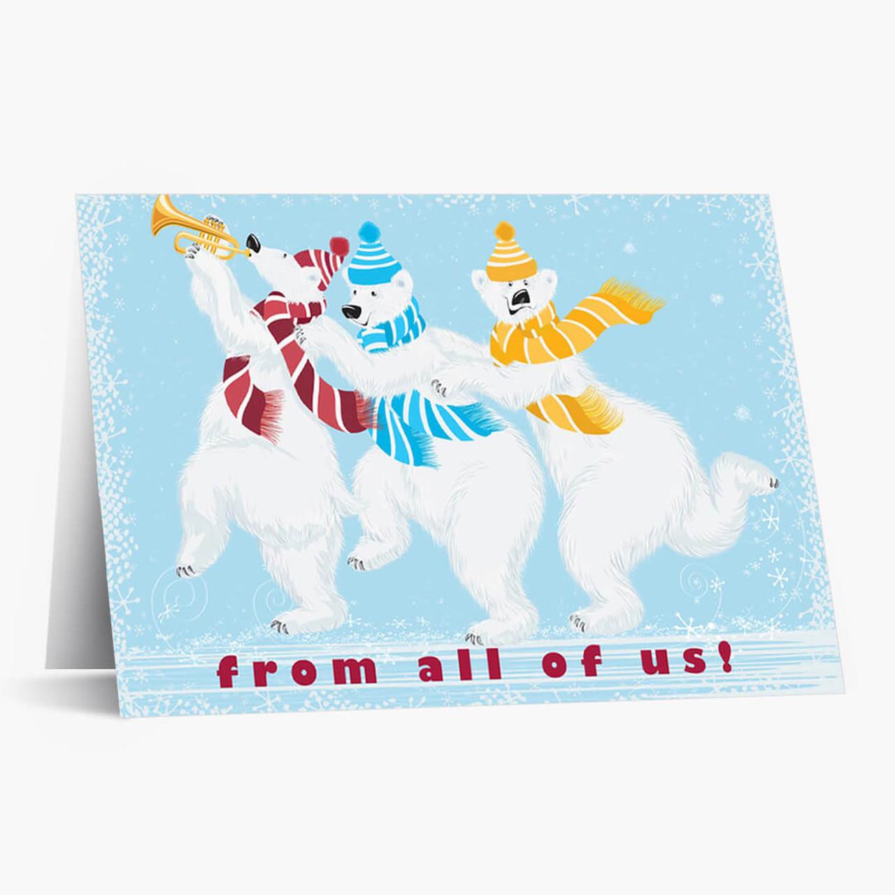 Whimsical Polar Bears Christmas Card