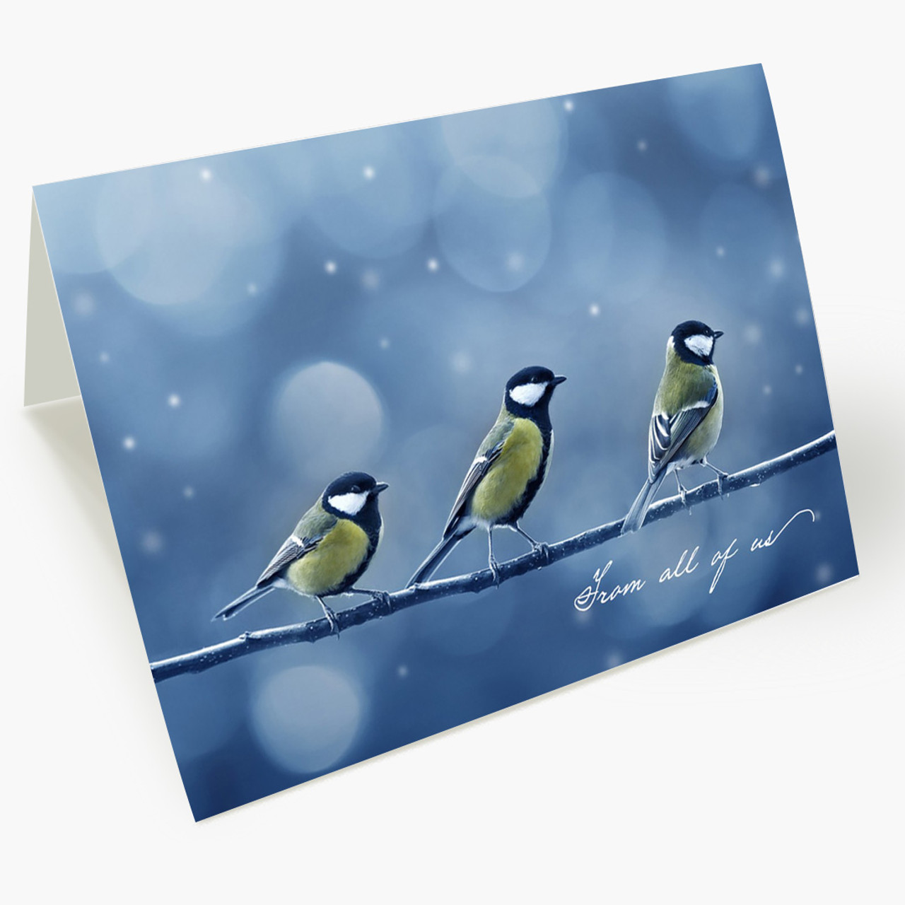 Three Chickadees Christmas Card