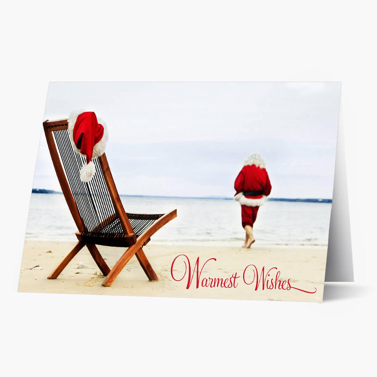 Santa On The Beach Christmas Card