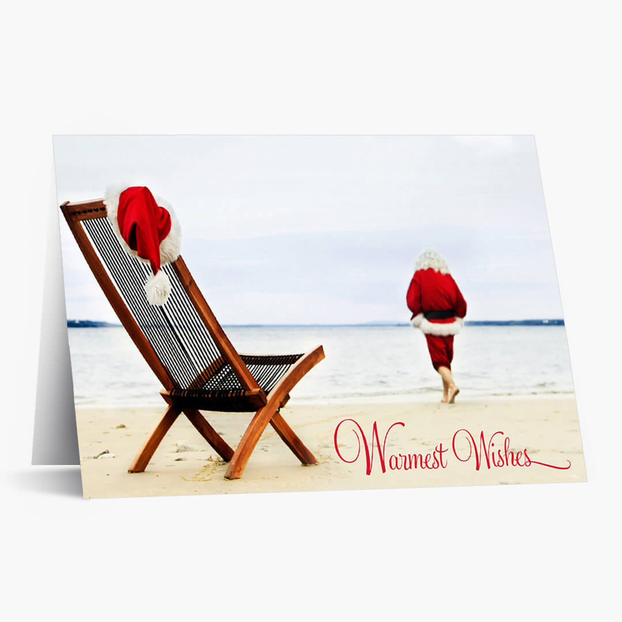 Santa On The Beach Christmas Card