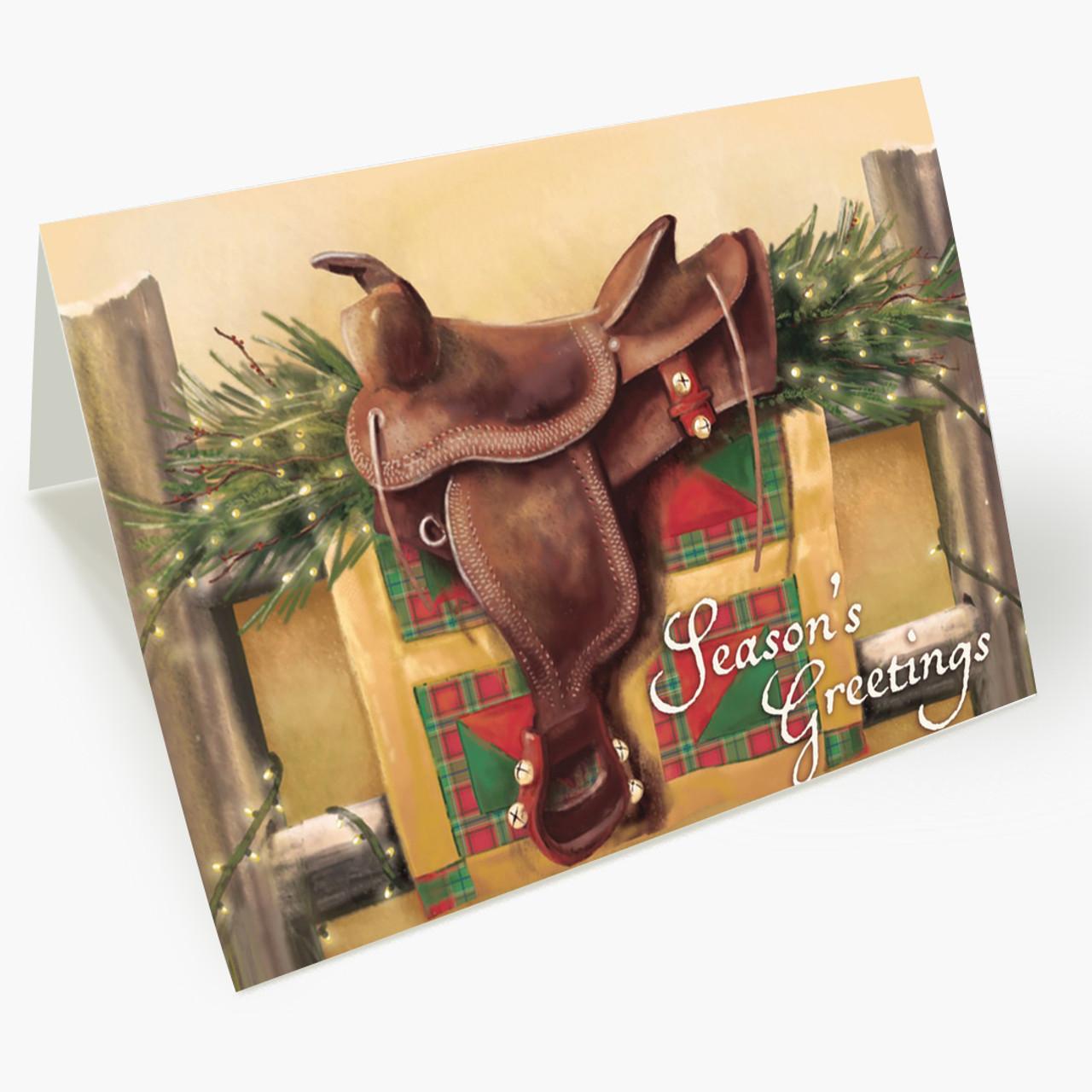 Jingle Bell Saddle Christmas Card