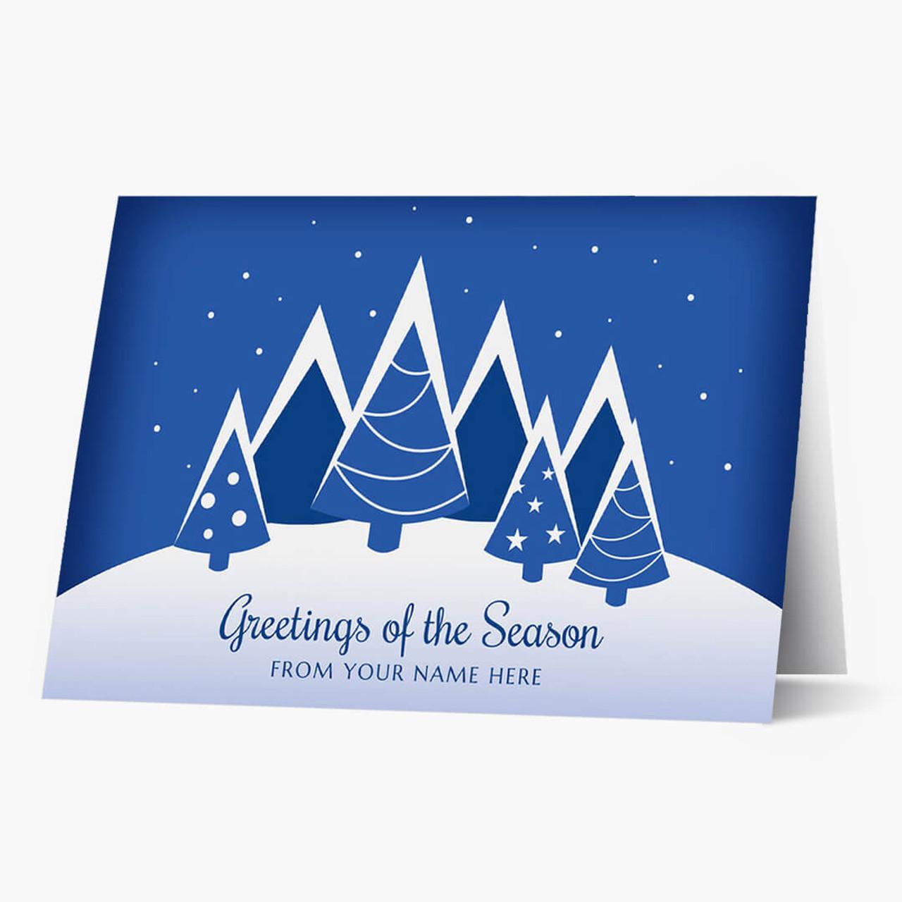 Blue Contemporary Trees Christmas Card