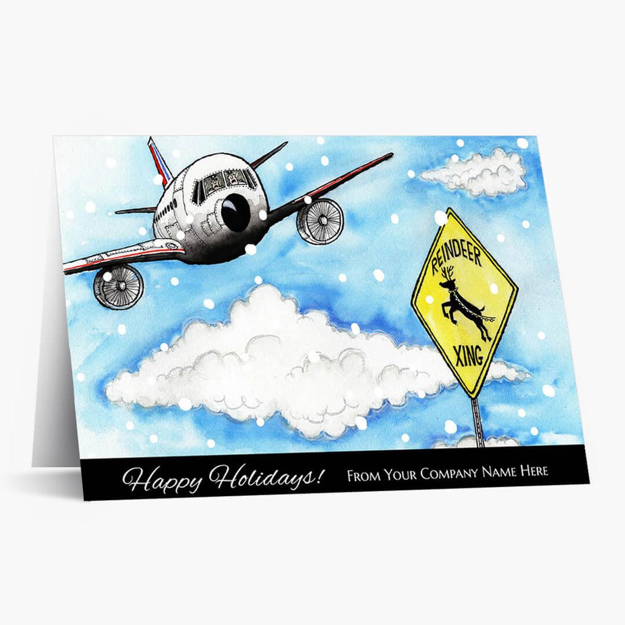 Reindeer Crossing Christmas Card