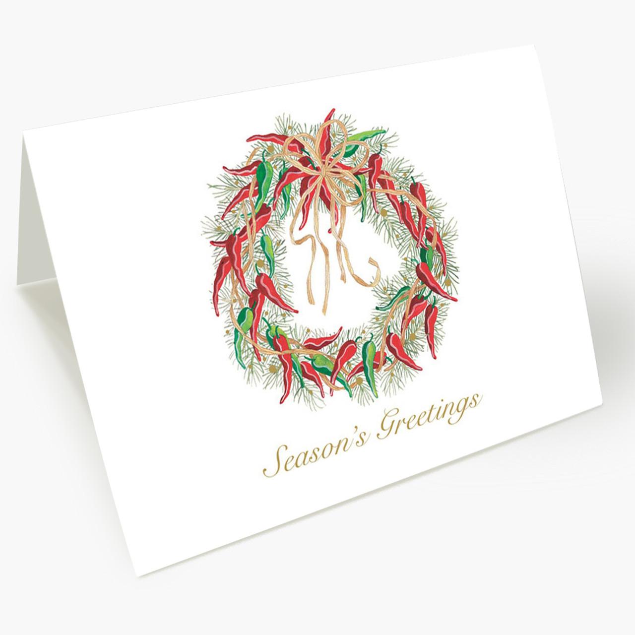 Hot Pepper Wreath Christmas Card