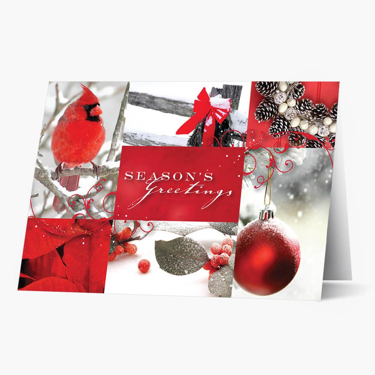Cardinal Collage Christmas Card