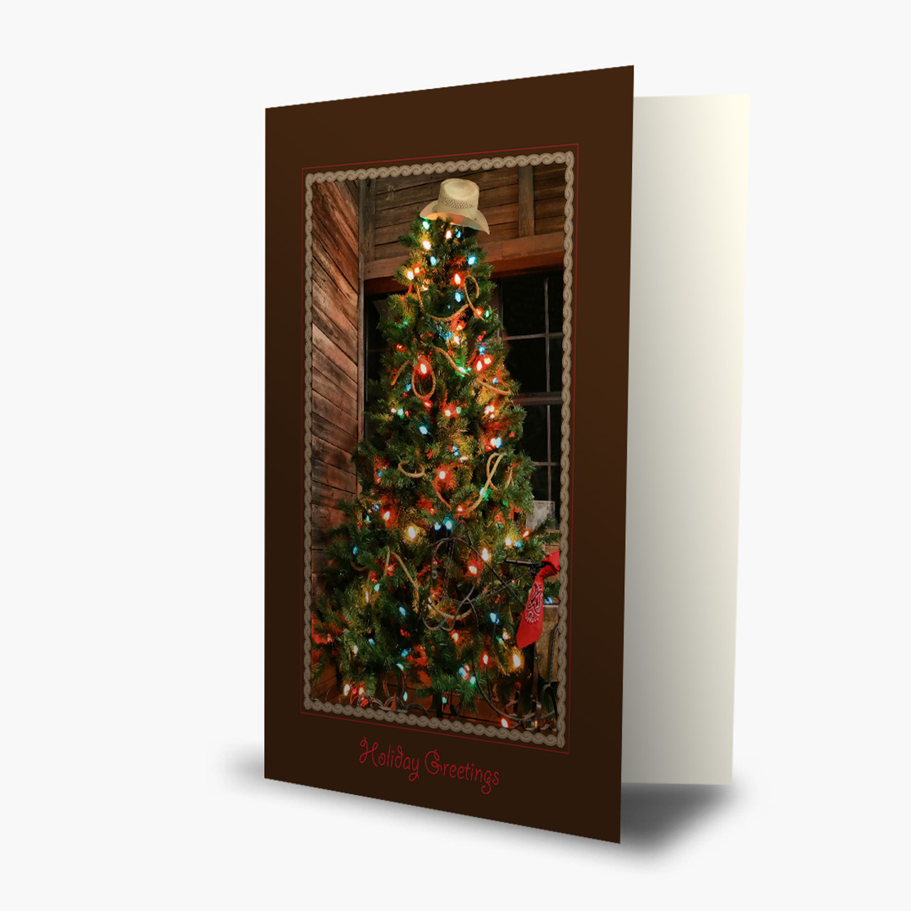 Cowboy Christmas Tree Card
