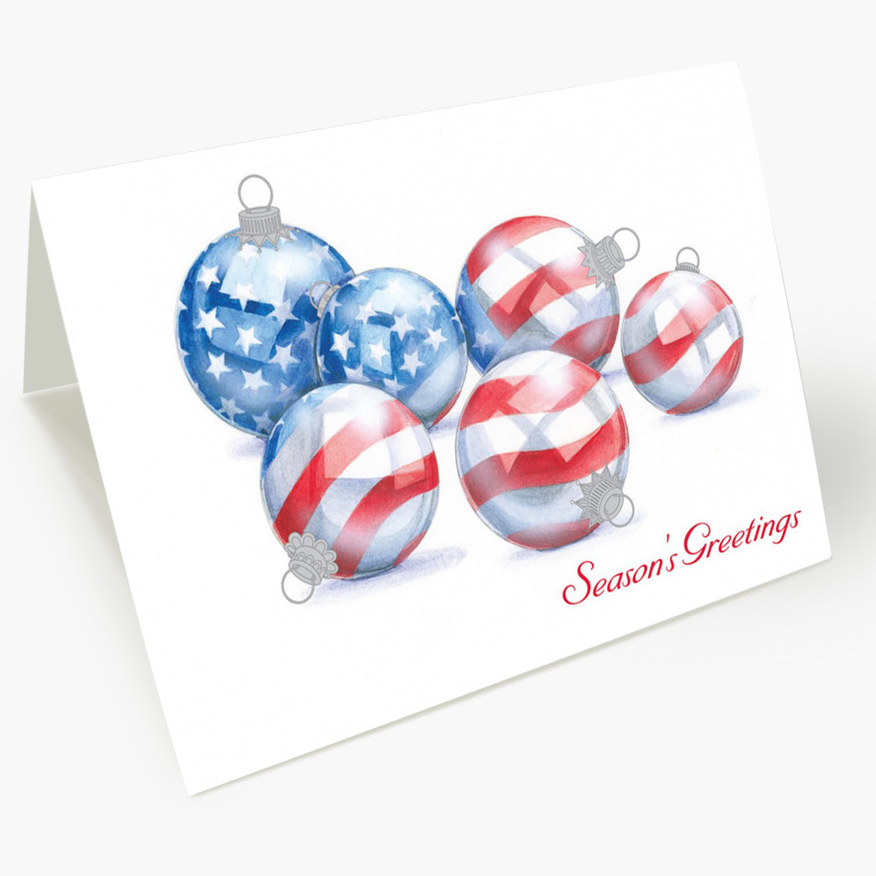 American Flag Ornaments Christmas Card