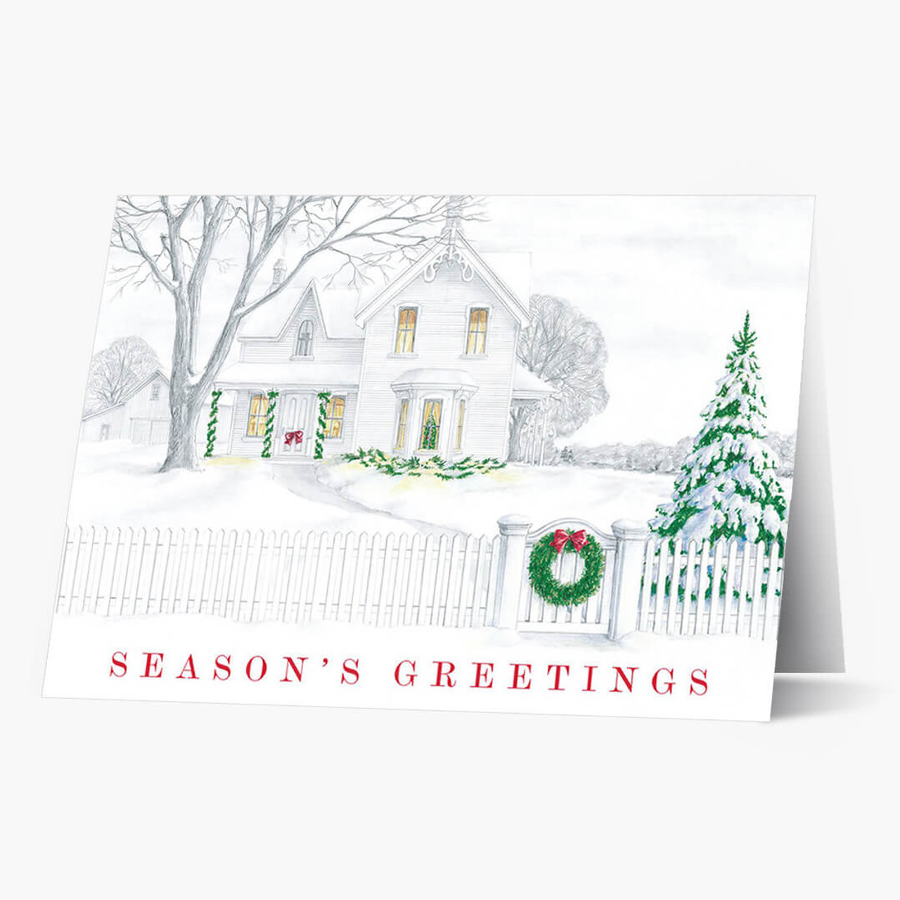 Sketched House Scene Christmas Card