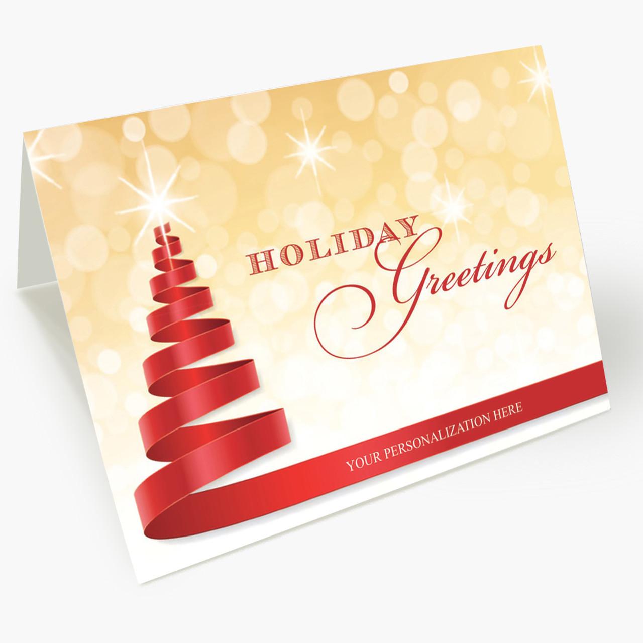 Red Ribbon Tree Christmas Card