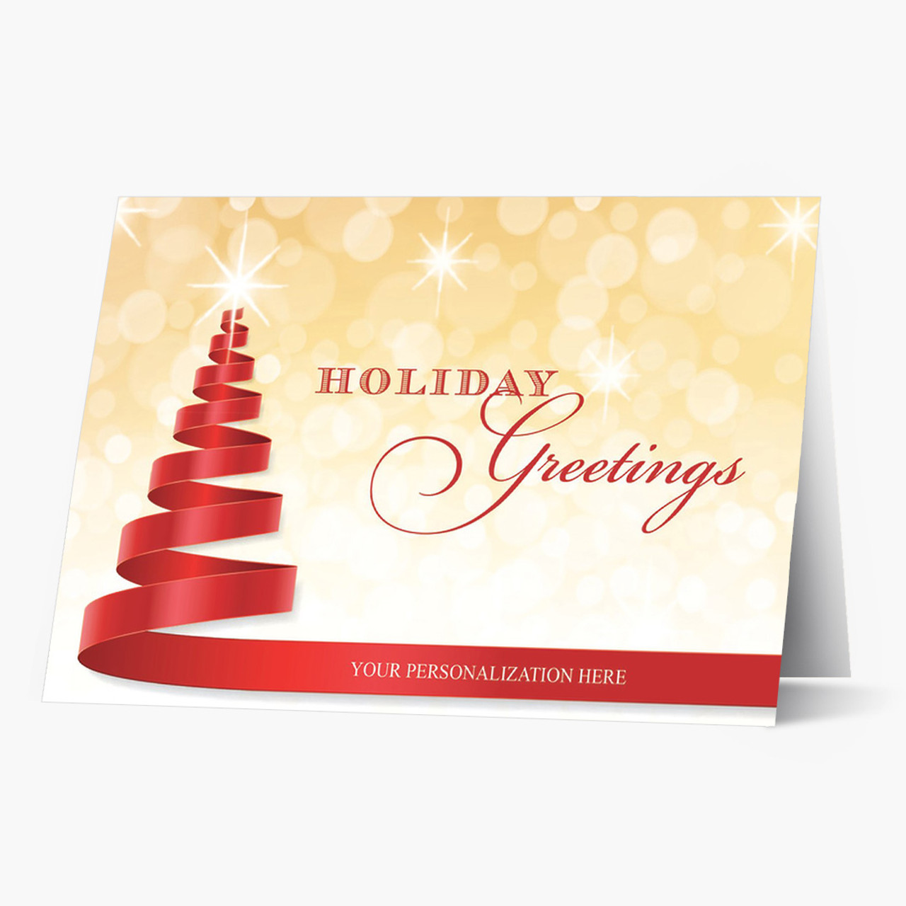 Red Ribbon Tree Christmas Card