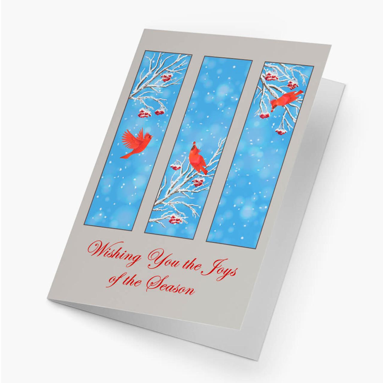 Cardinal Triptych Christmas Card