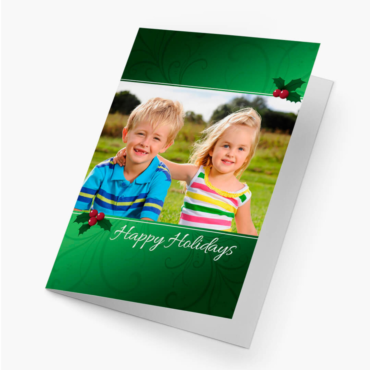 Holly Accent Photo - Matte Finish Christmas Card