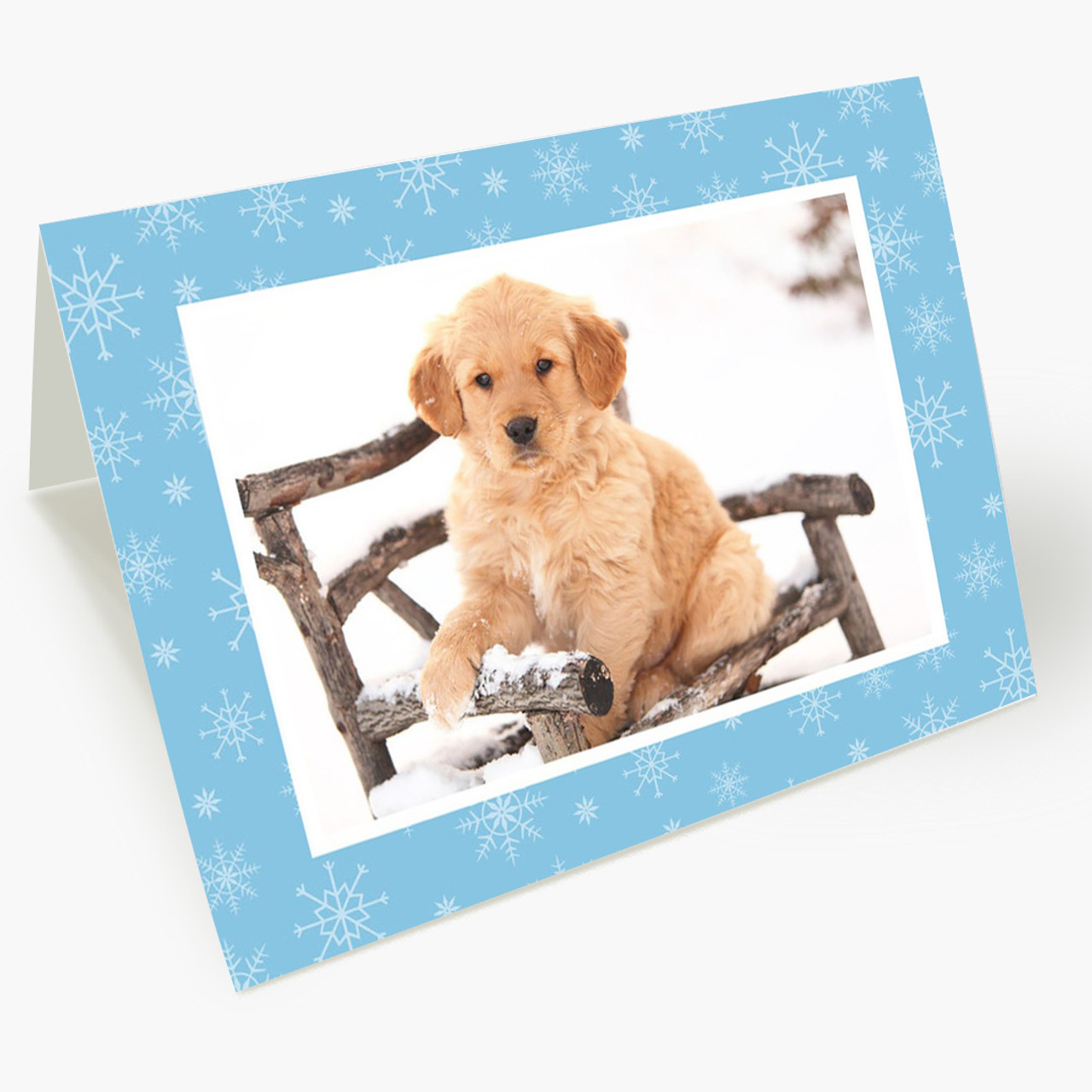 Blue Snowflakes - Matte Finish Christmas Photo Card